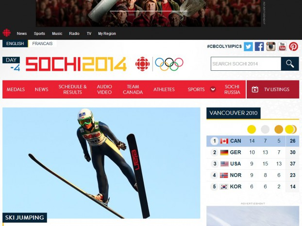 Copied from Media in Canada - cbc olympics website