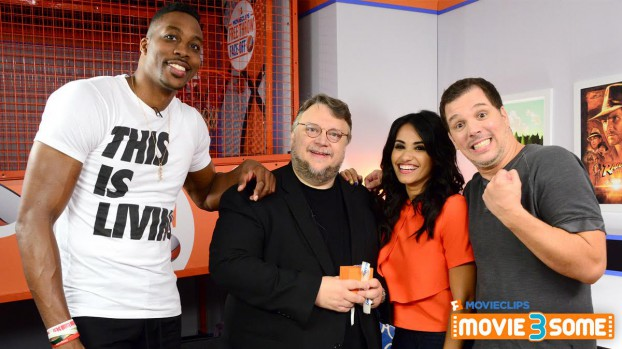 """Fandango Movieclips' """"Movie3Some"""" hosts Kristian Harloff and Tiffany Smith with the first episode's guests, director Guillermo Del Toro and movie-mad NBA All Star Dwight Howard"""
