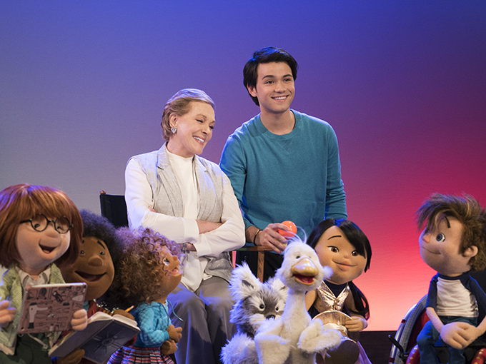 Netflix, the worldÕs leading Internet TV network, announced today that award-winning actress Julie Andrews will star in JulieÕs Greenroom, a new preschool show from The Jim Henson Company that features an all-new puppet cast of kids learning about the performing arts. The series will be available exclusively to Netflix members globally in early 2017. From left; Yomo, Bingo, Fizz, Julie Andrews, Gus (Guillian Gioiello), Toby, Hugo, Nimble and Hank, shown. (Photo: Ali Goldstein/Netflix)